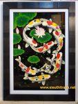 Tranh sơn mài vác vàng-Đàn cá chép-SM049