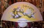 Tranh Quạt Gỗ-Mộc long đào hoa-Q01