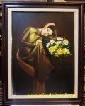 Tranh sơn dầu – Thiếu nữ bên bình cúc -S064