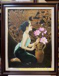 Tranh sơn dầu-Thiếu nữ bên hoa sen- S119