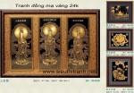 """Tranh đồng mạ vàng 24k""""Tam Thế Phật."""