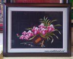 Tranh thêu tay T091 – Giỏ hoa lan