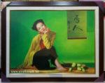 Tranh sơn dầu S051-Cô gái bên hoa sen