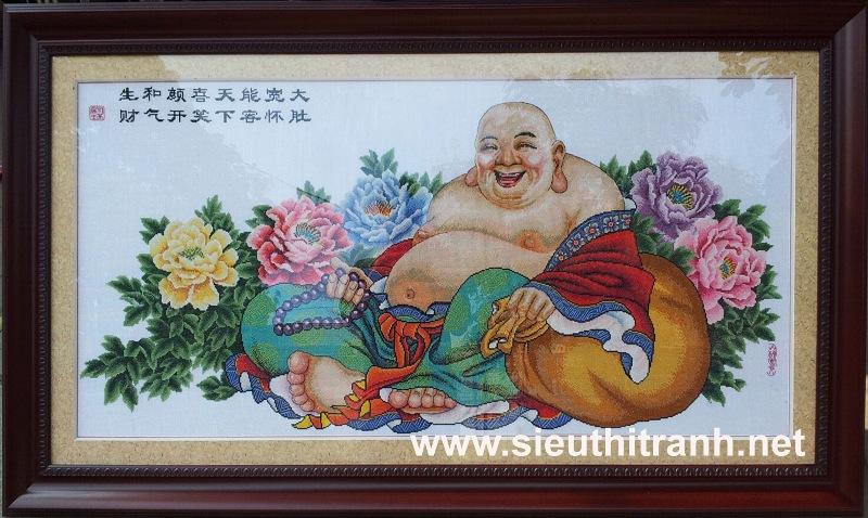 Tranh thêu chữ thập-Phật Di Lặc-TCT36