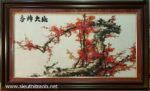 Tranh thêu chữ thập-Mộc long đào hoa-TCT02
