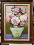 Tranh sơn dầu S093-Bình hoa hồng