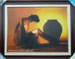 Tranh sơn dầu S041-Cô gái bên chum