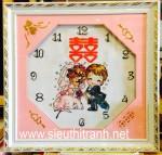 Tranh thêu đồng hồ Song Hỷ-TcT56