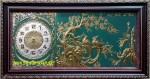 Tranh đồng-đồng hồ-nhị điểu ái đào-a135