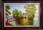 Tranh sơn dầu, Cầu Thê Húc Hồ Gươm-S189