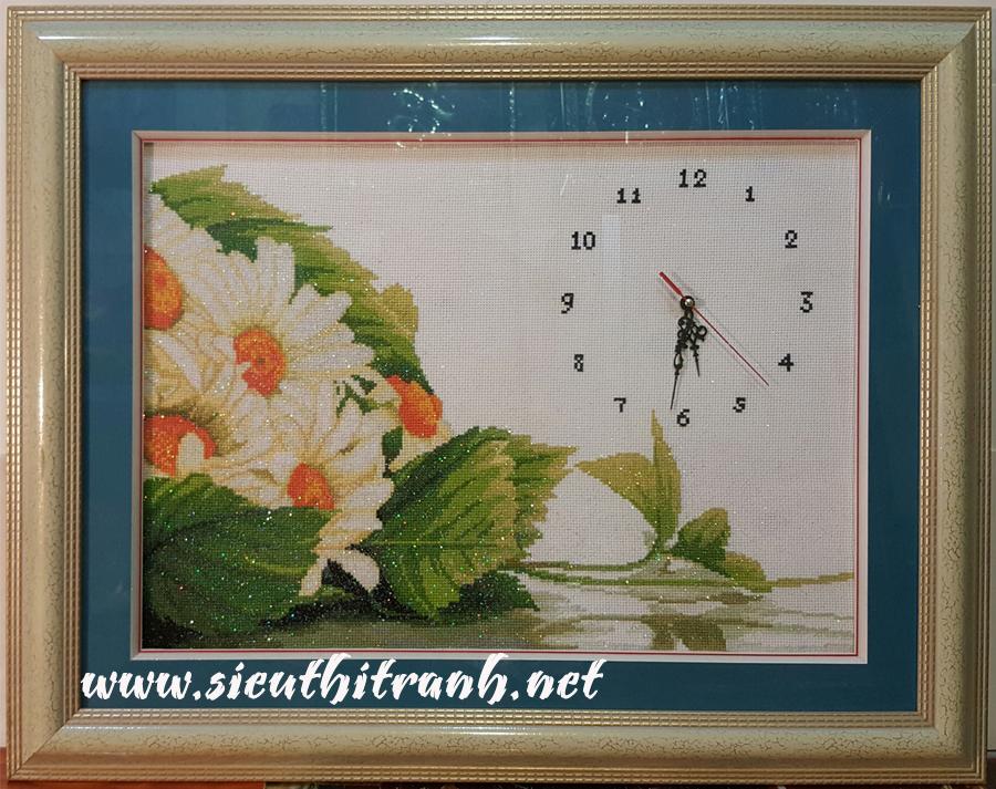 Tranh thêu chữ x-đồng hồ hoa hướng dương-ct62
