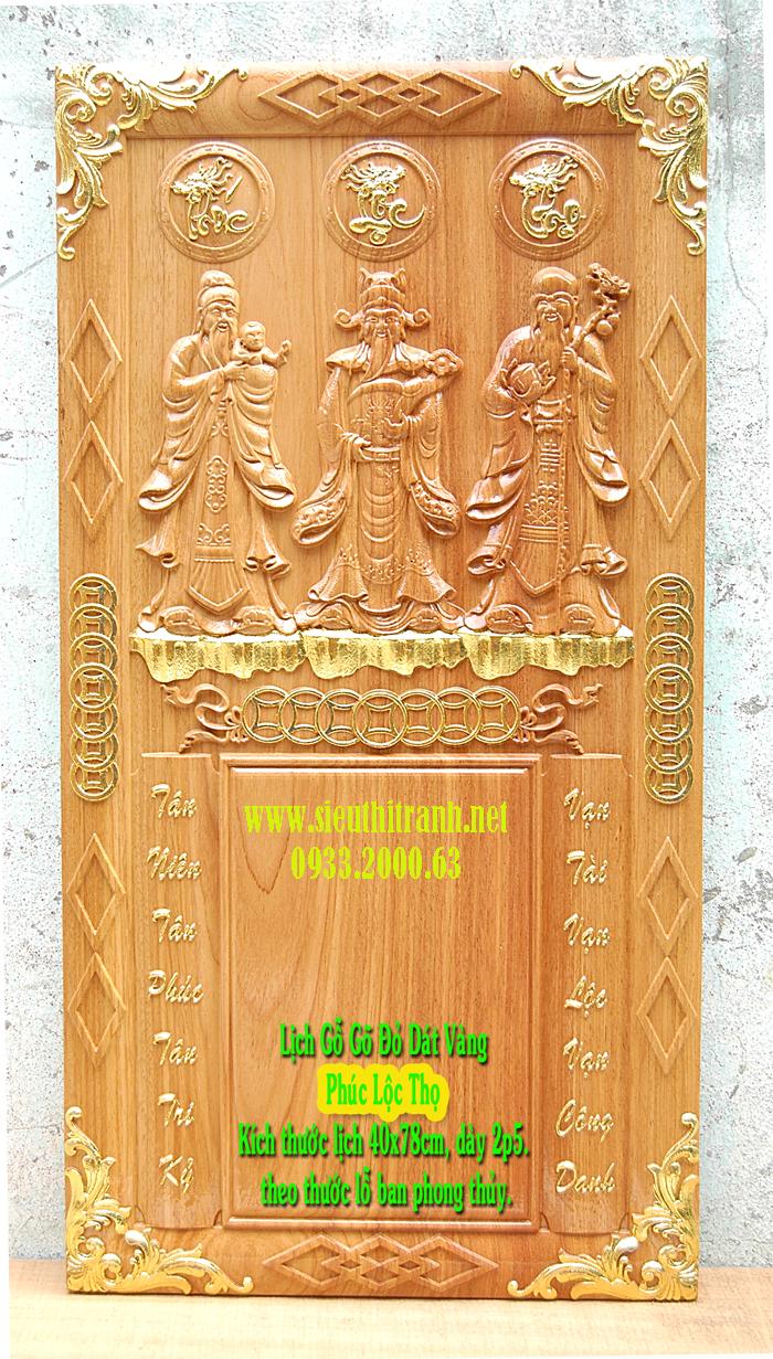 Đốc lịch gỗ gõ đỏ ,Phúc Lộc Thọ -TG138