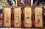Tranh gỗ bơmu bộ Tứ Bình -TG090