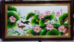 Tranh sơn mài – Hoa sen cá chép – SM180
