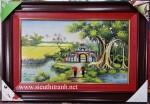 Tranh gốm sứ-cây đa cổng làng-G151