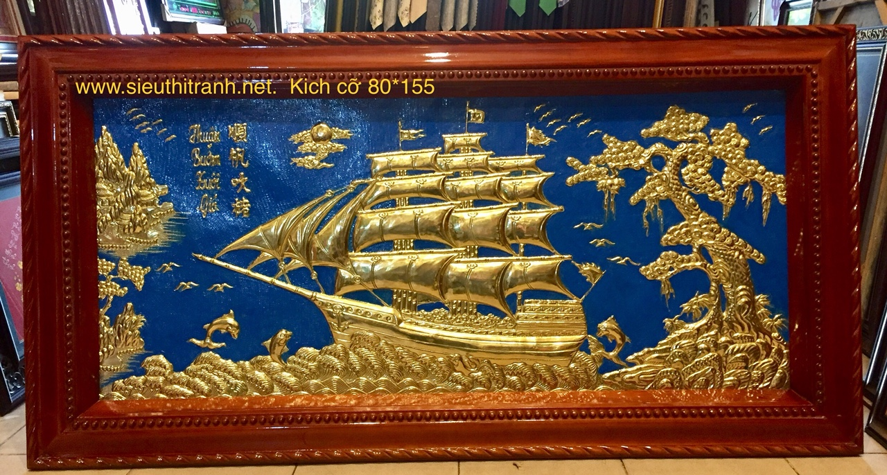 Tranh đồng tấm liền,Thuận buồm xuôi gió- A077