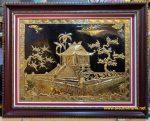Tranh đồng mạ vàng 24k, chùa một cột – A166