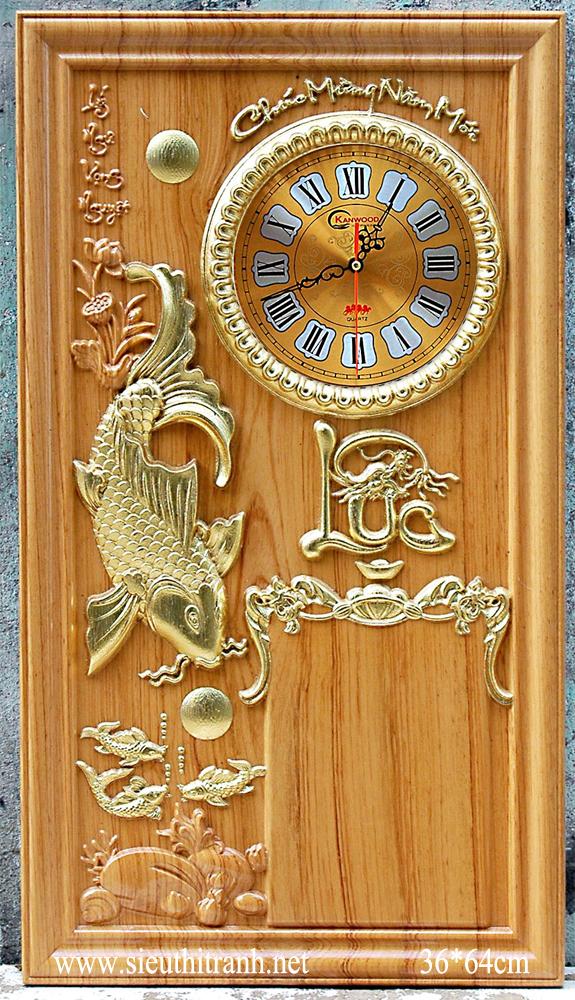 Đốc lịch gỗ gõ đỏ ,Cá chép trông trăng -TG140