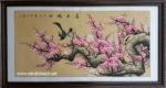 Tranh thủy mặc, hoa đào chim trĩ-TM66