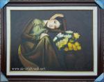 Tranh sơn dầu nghệ thuật ,thiếu nữ bên bình cúc -S233