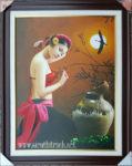 Tranh sơn dầu, thiếu nữ tắm trăng -S235