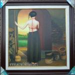 Tranh sơn dầu nghệ thuật, thiếu nữ quê -S236
