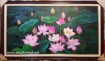 Tranh sơn dầu, Hoa sen đỏ -S240