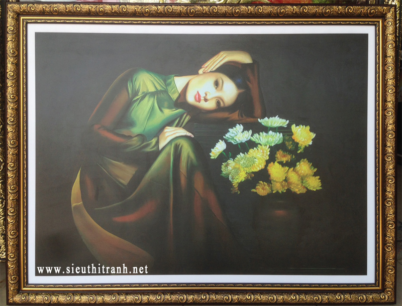 Thiếu nữ bên bình hoa cúc, in dầu -IN44