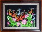 Cá chép hoa sen,Tranh thêu -F147