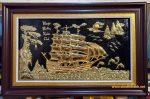 Thuyền Vàng 24k, tranh đồng -A187