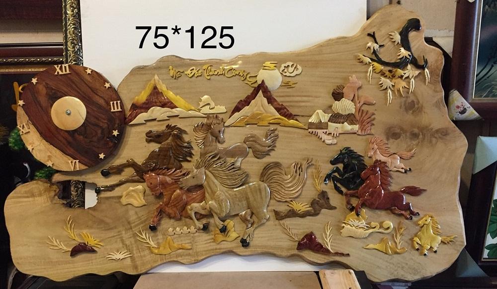Tranh mã đáo thành công (gỗ dổi TG221)