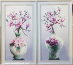 Tranh bộ 2 bức hoa mộc lan -IN064