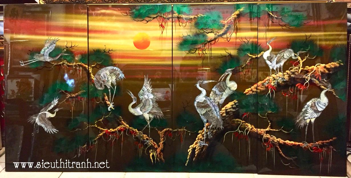 Tranh Tùng Hạc Diên Niên, sơn mài khảm trai -SM281