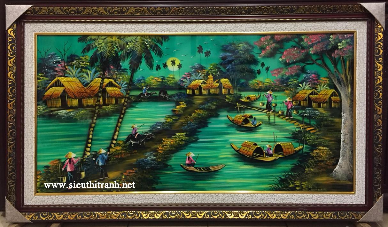 Tranh sơn mài ,Đồng Quê -SM285