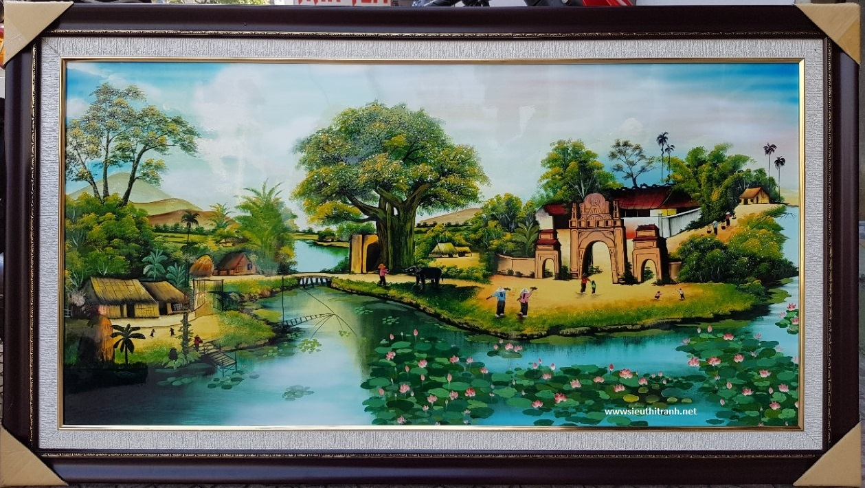 Tranh sơn mài ,cây đa cổng làng SM282
