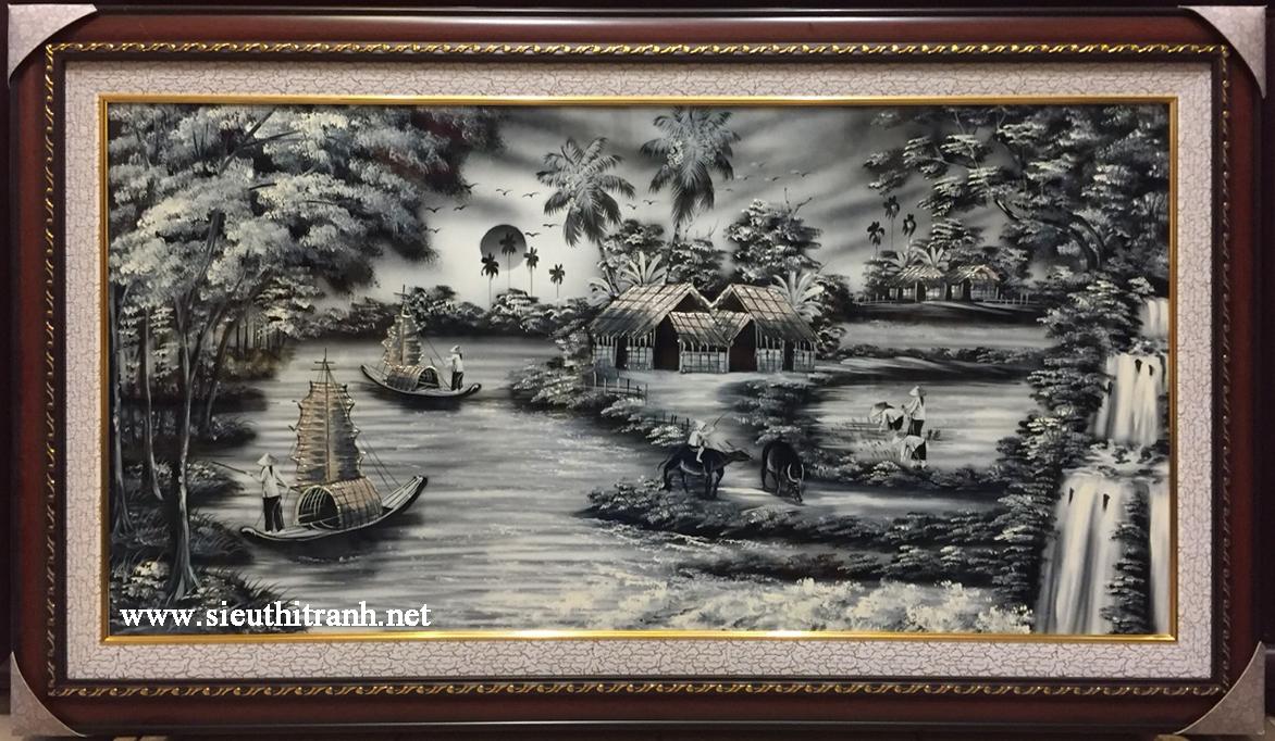 Tranh sơn mài đen trắng Đồng Quê -SM286