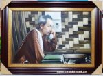 Tranh sơn dầu,Bác Hồ Nghe điện thoại S256