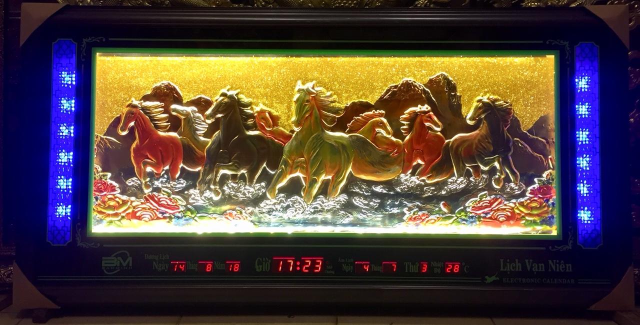 Tranh nổi phù điêu đèn led + lịch vạn niên ,Mã đáo -2074