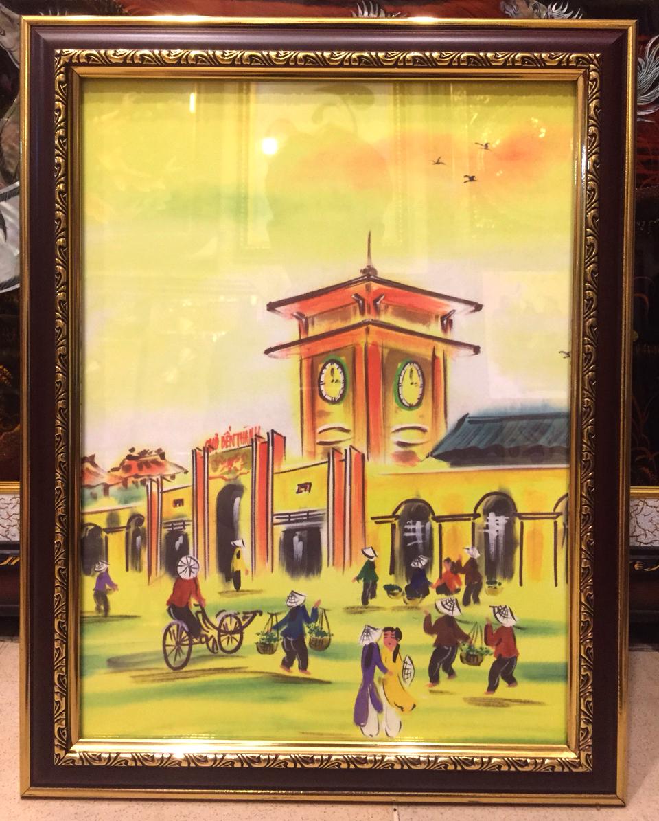 Tranh in lụa L04 ( Chợ Bến Thành )