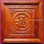Tranh gỗ hương đục nổi chữ Phúc-TG280