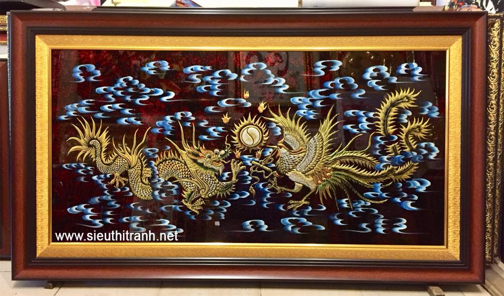 Long Phượng ( tranh sơn mài đắp nổi vác vàng SM294 )