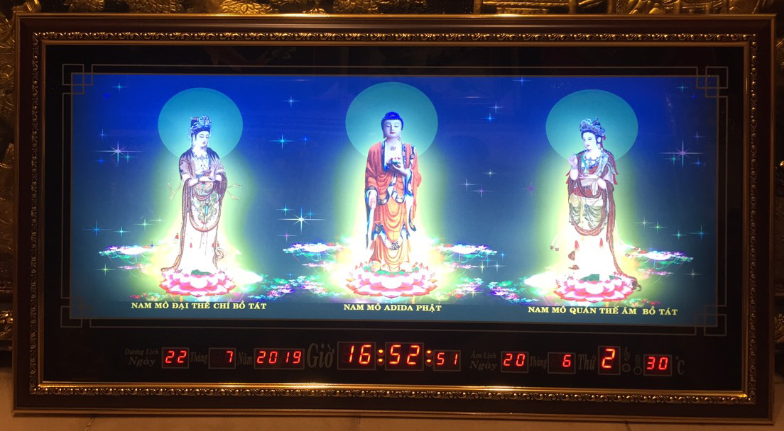 Tranh đồng hồ vạn niên, Tam Thánh Phật- 8608