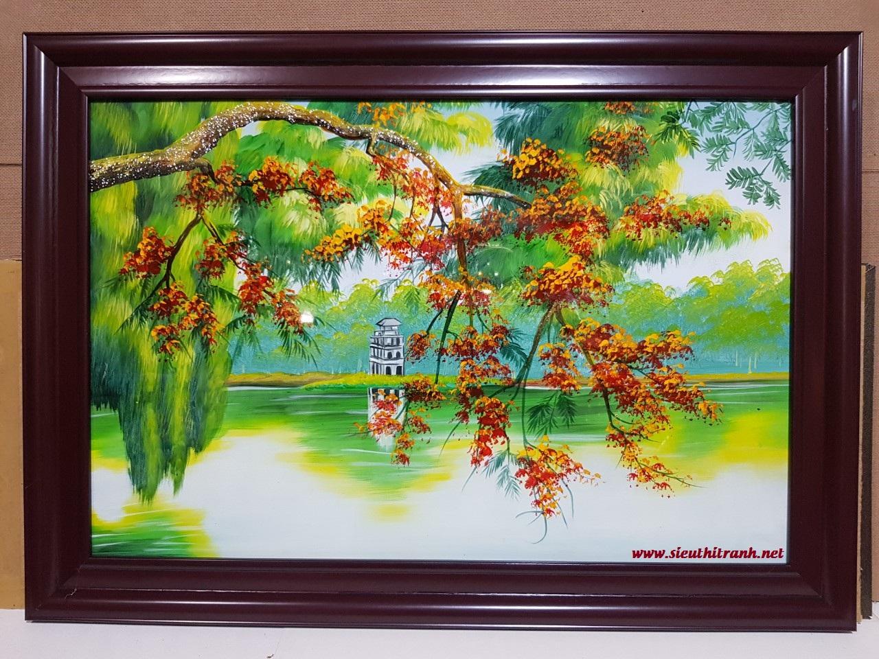 Tranh sơn mài, Tháp Rùa Hồ Hoàn Kiếm Hà Nội-sm296