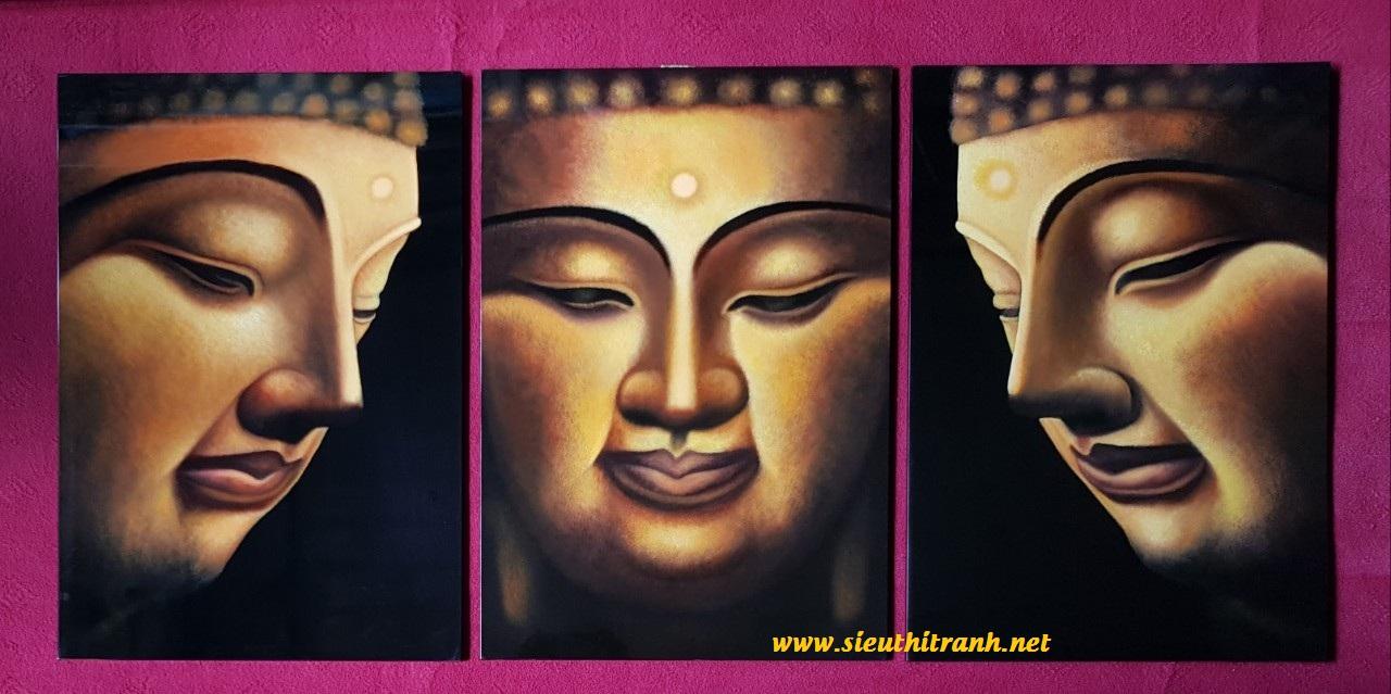 Tranh sơn mài hiện đại ghép khuôn mặt Phật-HD007