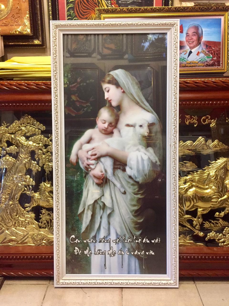 Tranh in dầu đức mẹ bồng con – C082