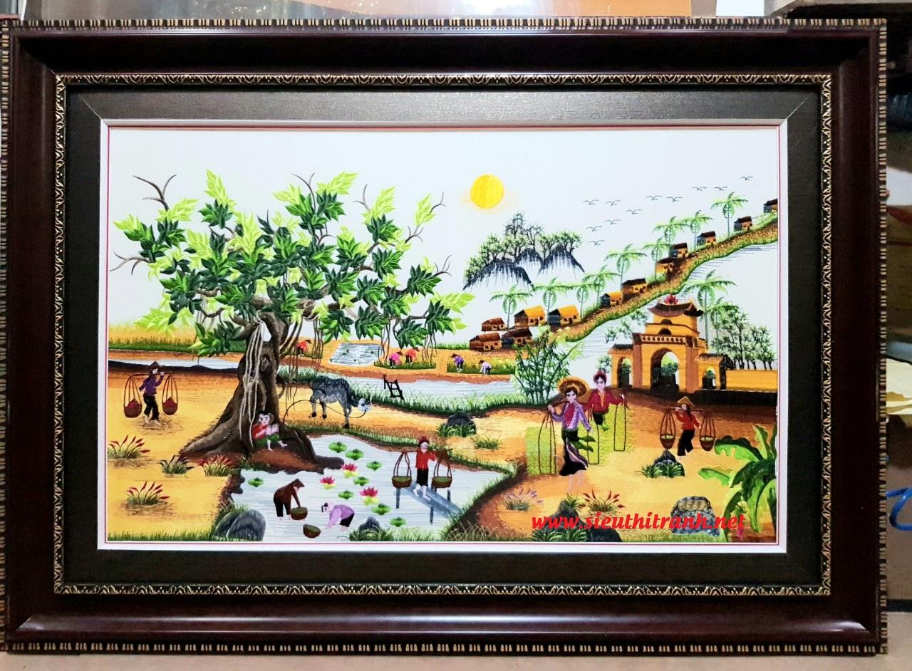 Tranh thêu, làng quê bắc bộ Viet Nam-F167