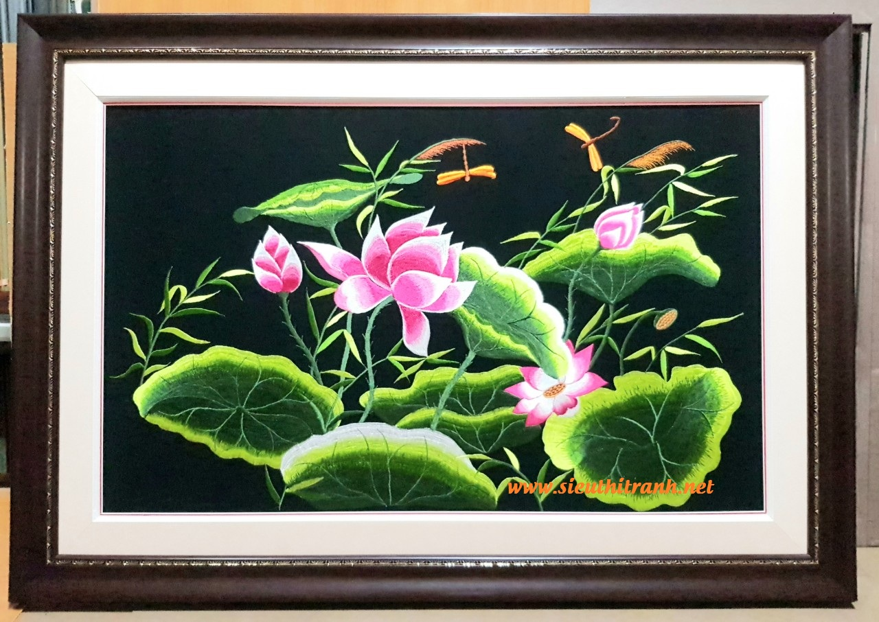 Tranh thêu Hoa sen -F169