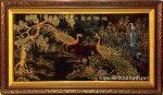 Tranh Phu thê viên mãn-SM297 (sơn mài đắp phù điêu dát vàng )