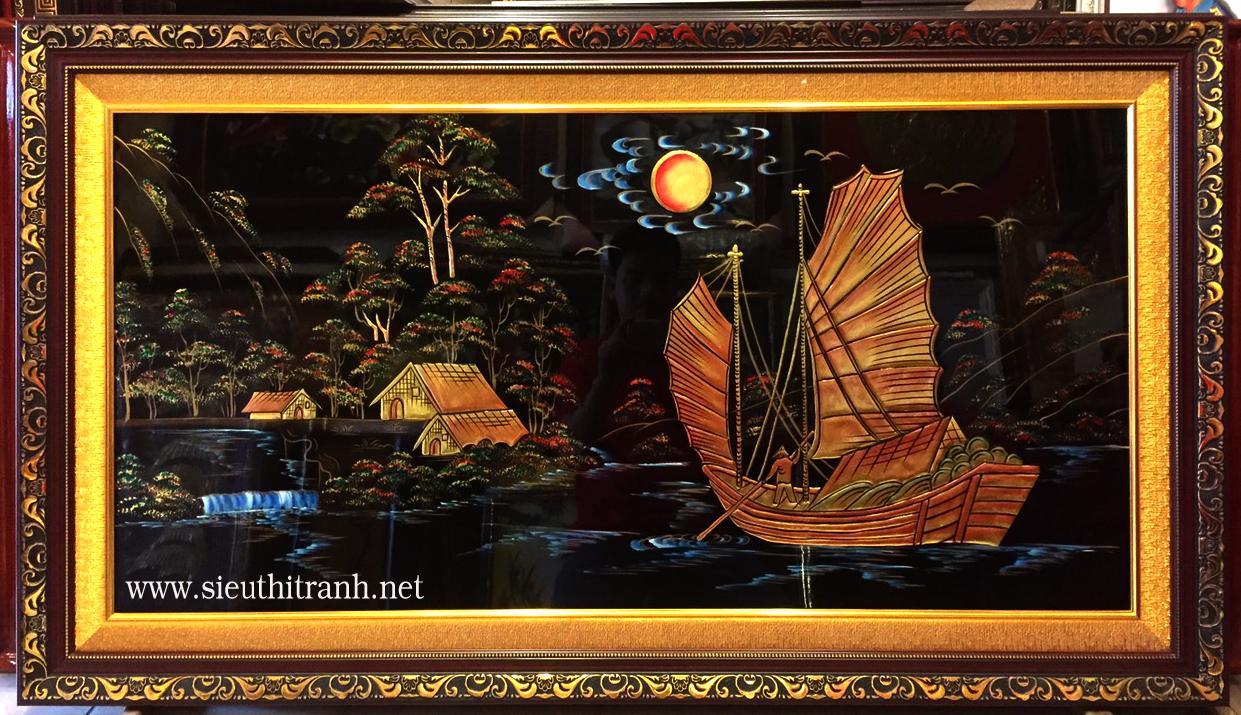 Tranh thuận buồm xuôi gió -SM298 ( sơn mài đắp nổi dát vàng )