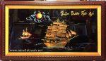 Tranh sơn mài Nhất xuyến phong thuận -SM299 ( đắp nổi dát vàng )